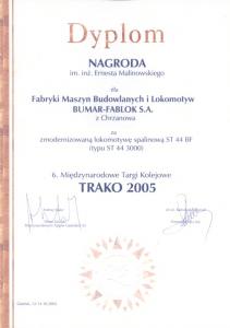 Dyplom i statuetka otrzymanej nagrody im. inż. E. Malinowskiego.